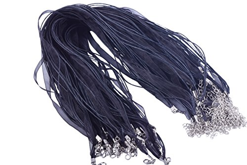 KONMAY 50pcs 17'' Black Voile Organza/ribbon Waxed Cotton Necklace Cord with Extension Chain]()