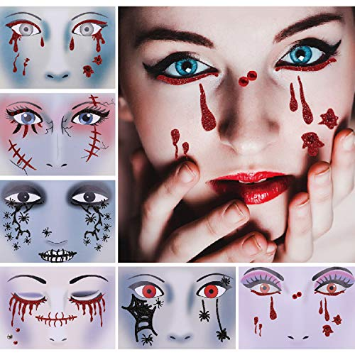 Konsait Halloween Glitter Face Temporary Tattoos (6 Pack), Day of The Dead Bloody Scars Black Spider Face Tattoo Sticker for Women Men Adult Kids Masquerade Halloween Party Favor Supplies