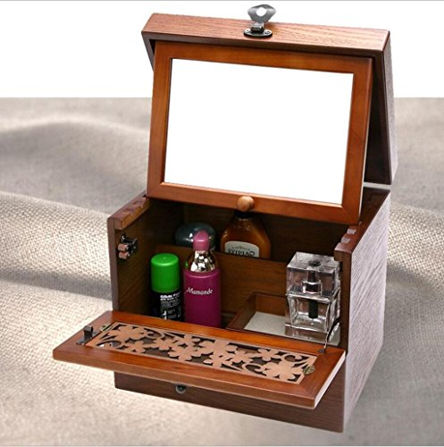 GFYWZ Pure Handmade Retro Metal lock Solid Wood Cosmetic Case With a Mirror Desktop Dresser Cosmetic Box Jewelry Storage Box Birthday gift 27.5cm 20cm 29.5cm , 1 , 27.5cm20cm29.5cm by GFYWZ