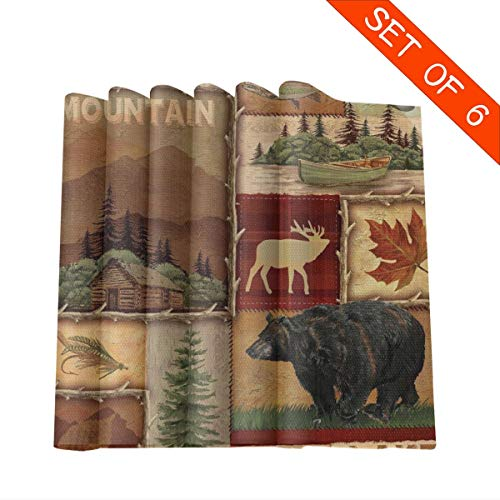 DerdYoaa Placemat Set of 6 Rustic Lodge Bear Moose Mountain Lake Placemats for Dining Table Kitchen Washable Table Mats 12 X 12 Inches