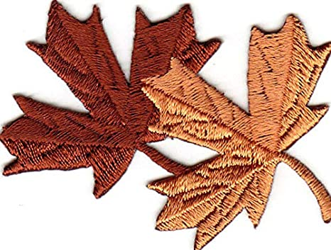 "3+/"" Brown Leaf embroidery Leaves Patch"
