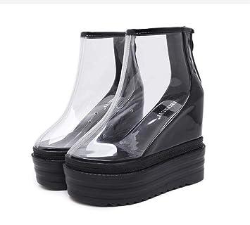 Botines Transparentes Mujeres 14CM Cuña Talón Grueso Inferior Vestido Botas PVC Cremallera Casual Corte Zapatos UE Tamaño 34-40: Amazon.es: Deportes y aire ...