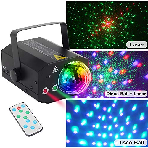 CHINLY Party Laser Lights 2 Lens+1 RGB Ball DJ Disco Stage Light Sound Activated Led Projector for Christmas Halloween Decorations Gift Birthday Wedding Karaoke Bar (Disco Ball Version)]()