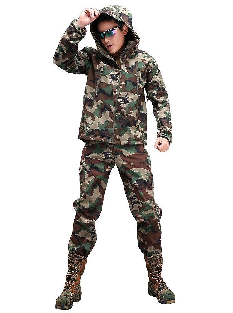 YuanDian Hombre Oto/ño Invierno Tactica Camuflaje Chaqueta y Pantalones Conjunto de 2 Piezas Senderismo Trekking Caza Impermeable Militar Vell/ón Softshell Abrigos y Pantalones
