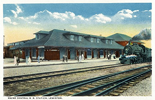 Lewiston, Maine - Exterior View of the Maine Central Railroad Station (16x24 SIGNED Print Master Giclee Print w/Certificate of Authenticity - Wall Decor Travel Poster)