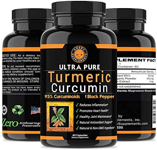 Angry Supplements Ultra Pure Turmeric Curcumin with BioPerine, Black Pepper Extract, 95 Curcuminoids, All Natural Powerful Antioxidant, Non-GMO, Joint Support, Heart Heath, Pain Relief 6-Pack