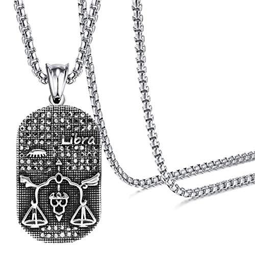 - Xusamss Hip Hop Titanium Steel Twelve Constellation Dog Tag Pendant Crystal Necklace,24