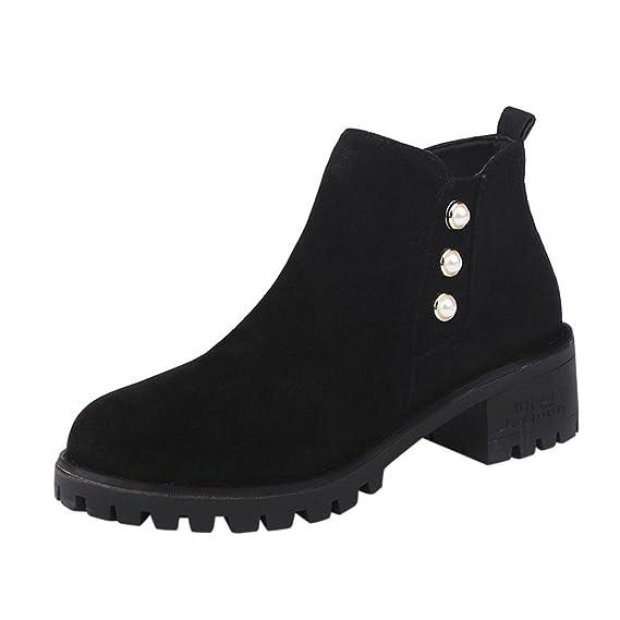 a45cc0a317 Stiefeletten Damen, DoraMe Frauen Martin Stiefel Pearl Wildleder Retro  Stiefel Quadratische Ferse Kurzen Boots Feste