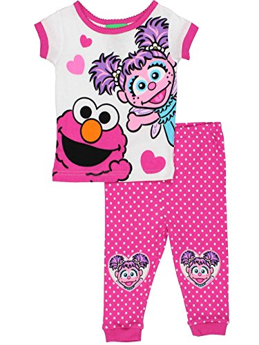 Sesame Street Elmo and Abby Cadabby Toddler Girls Cotton Pajamas Set (3T, Elmo Abby Pink)