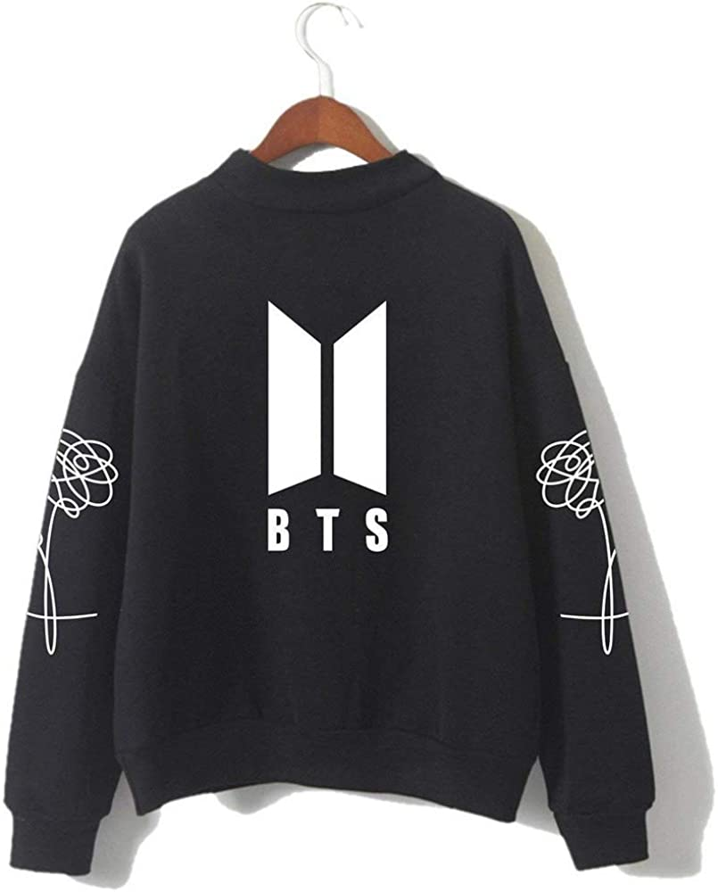 HelloTem BTS Kpop Unisex Sweatshirt Round High Neck Pullover Casual Printed Love Yourself Hoodie