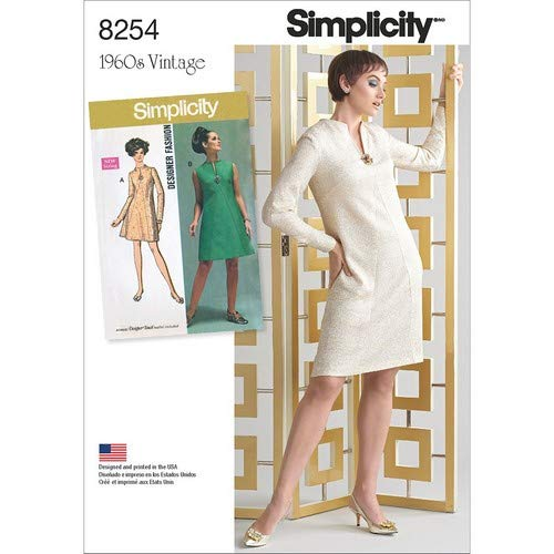 1960s – 70s Sewing Patterns- Dresses, Tops, Pants, Men's Simplicity Vintage Sewing Template 8254 1960s A-Line Dress Sewing Pattern 2 Styles Plus Sizes 20W-28W $8.50 AT vintagedancer.com
