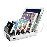 MixMart 6-Port Charging Station [40W/8A] Charging Docks and Portable USB Travel Charger for iPhone 7/7 Plus, Samsung Galaxy, and Tablets