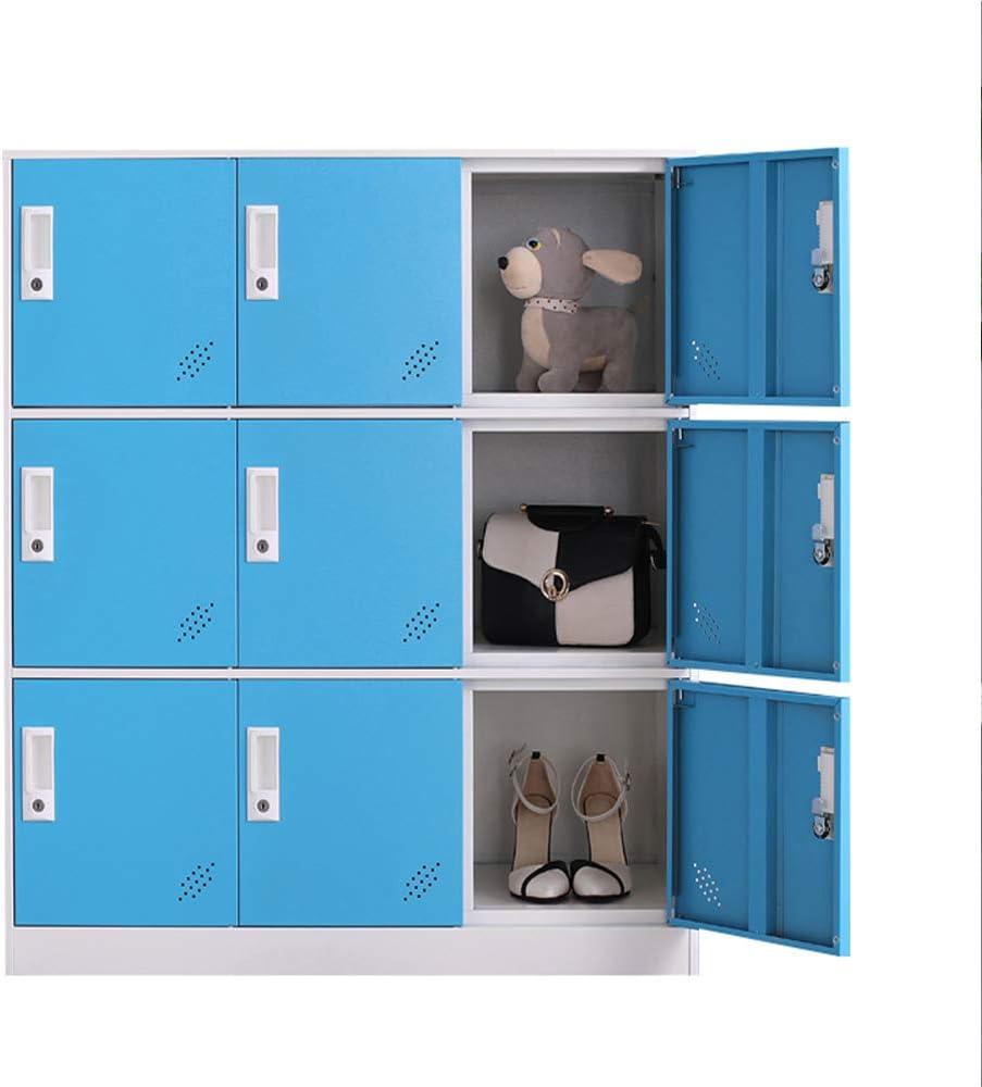 colore bianco stanza da letto e ufficio per salotto e scuola per vestiti per ragazzi 4D con serratura per la casa metallo bianco Armadietto in metallo a 9 ante