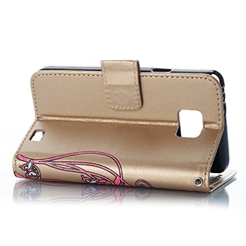 Para Samsung Galaxy S2 funda, (Oro) Narcisos caja del teléfono de la PU patrón en relieve ,Función de Soporte Billetera con Tapa para Tarjetas correa de mano soporte para teléfono Oro