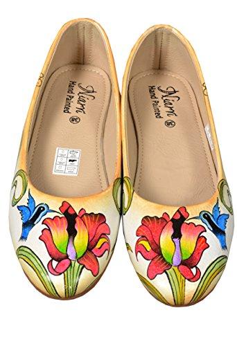 Niarvi Women's Ballet Flats beige multi-coloured tV6WOjxLv