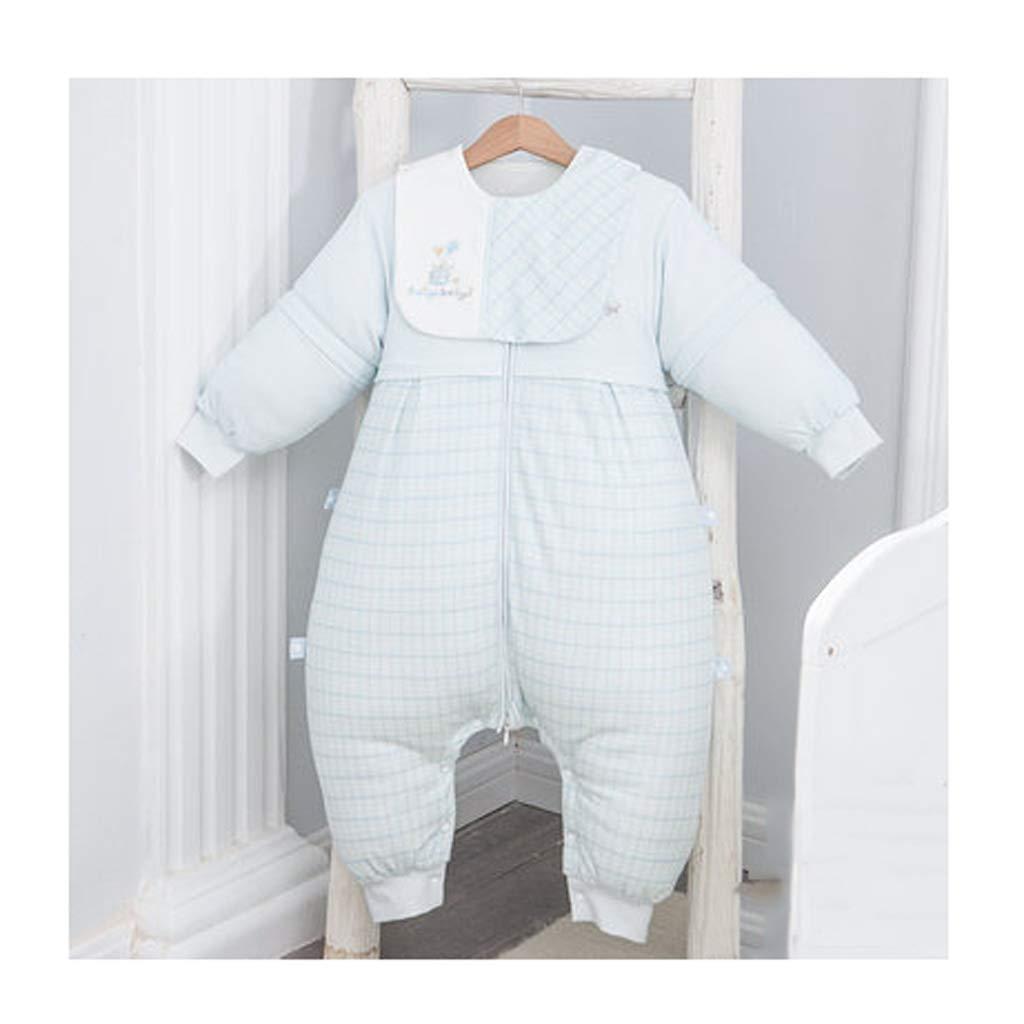 Saco de dormir para niños Wolaoma Algodón Saco de Dormir para bebés bebé otoño e Invierno Sacos de Dormir Anti-Patada (Color : Azul, Tamaño : S)