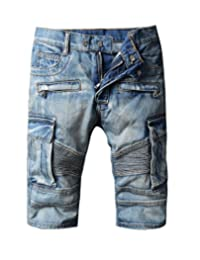 Men's Moto Biker Jeans Shorts Denim Short Pants