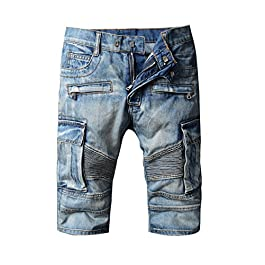 XARAZA Men's Moto Biker Jeans Shorts Denim Short Pants