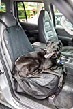 Front Seat Dog Cover by 2PET - Pet Seat Cover for Trucks, Cars, SUV - Non Slip Waterproof with Velcro Opening for Seatbelts - Secure Fit - Protects Upholstery from Dust, Hair and Dirt - Black/Quilted