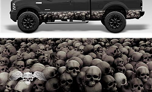 Speed Demon Hot Rod Shop Grayscale Skull Crusher Camouflage Rocker Wraps Rocker Panel Graphic Decal Wrap Kit for Trucks and SUVs (Mild Conformability, 16