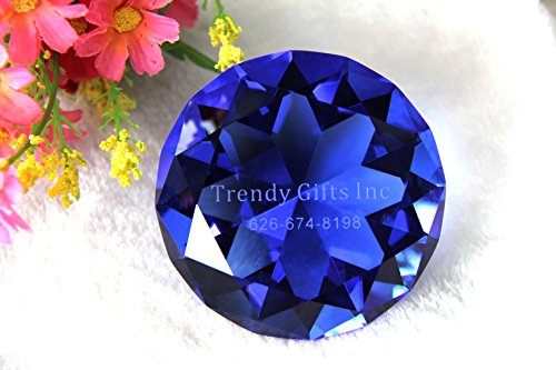 Personalized Heart Paperweight - Personalized Custom Engraved Crystal Diamonds Paperweight (Blue)