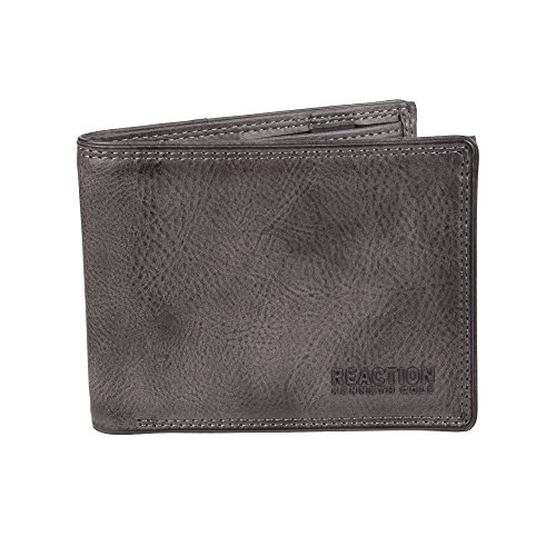 Kenneth Cole REACTION Men's RFID Blocking Security Passcase Bifold Wallet, gray Erben, One Size