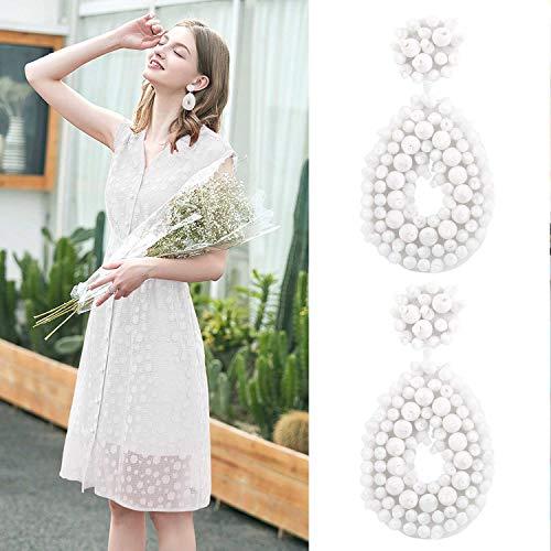 Statement Beaded Hoop Earrings, Drop Dangle Round Earrings Bohemian for Women Girl Novelty Fashion Summer Accessories - VE127 White