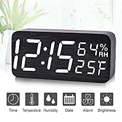 Alarm Clock, Qiwoo Wooden LED Light Alarm Clocks Large Display with 3 Group Alarm 3 Level Adjustable Brightness Voice Control Date Humidity Temperature for Kids Heavy Sleeper Bedroom Bedside Table