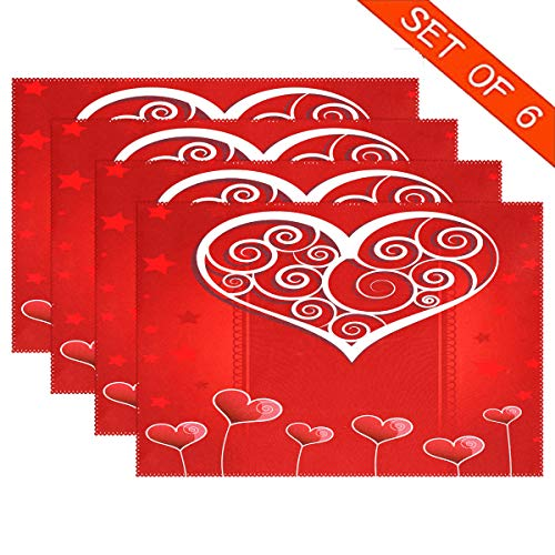 Heart Love Valentine's Day PlaceMats Table mats for Kitchen Dining Set of 6 Romantic Rose Red XOXO Valentines Place mats Tablemats 12×18 inch for Wedding Party Tabletop Home Decor