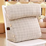 WENRAN Flax Back Rest Pillow, Headboard Bedside Tatami PP-Cotton Filled Removable Washable Cover Upholstered Triangular Wedge Bedside Cushion-K 50x45x22cm(20x18x9inch)