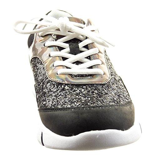 Sopily - Scarpe da Moda Sneaker alla caviglia donna lucide paillette Tacco a blocco 3.5 CM - Nero