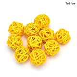 #10: 10 Pieces/Set Rattan Wicker Ball Decoration Ornaments Wedding Christmas Party Table Desk Garden Hanging Decoration,yellow,5cm