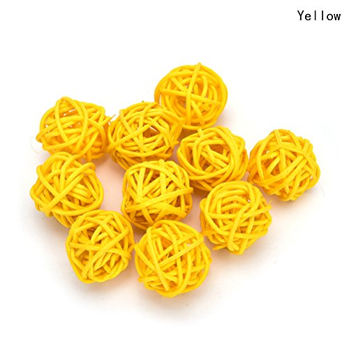 10 Pieces/Set Rattan Wicker Ball Decoration Ornaments Wedding Christmas Party Table Desk Garden Hanging Decoration,yellow,5cm ()