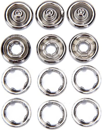 perfektchoice 50sets Press Studs Snap Popper Snaps Fasteners Open Ring 11mm Nickle Plated New
