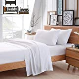 eBeddy Linens 800 Thread Count Hypoallergenic Soft 4-Pieces Bed Sheet Set | Single Ply - Sateen Weave Natural Cotton | Queen Size Fits Upto 18'' Deep Pocket White Solid
