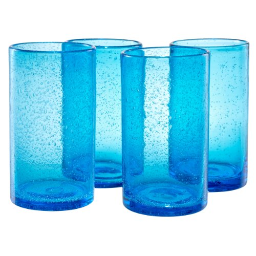Artland Iris Highball Glasses, Turquoise, Set of - Glasses Turquoise