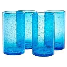 Artland Iris Highball Glasses, Turquoise, Set of 4