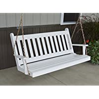 Dress the Yard Traditional Amish-Crafted Yellow Pine Porch Swing (4 Foot, White)