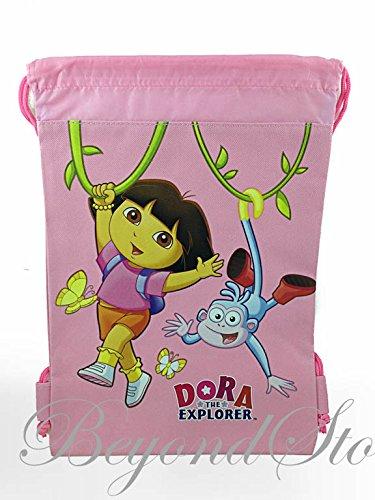 Dora The Explorer Light Pink Drawstring Backpack Tote Bag