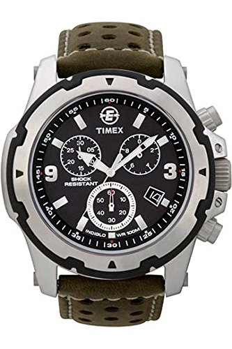97445c727331 Timex Expedition Fullsize Quartz Watch with Black Dial Chronograph Display  and Green Leather Strap T49626SU  Timex  Amazon.co.uk  Watches