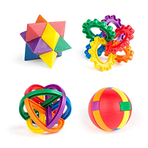 Price comparison product image Blue Green Novelty Goody Bag Favors, 3D puzzle pieces Party Toys, Fun Puzzle Balls For Kids