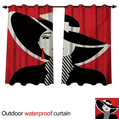 - WilliamsDecor Girls Outdoor Curtains for Patio Sheer French Style Icon in Shabby Chic Classical Vintage Hat and Striped Coat Design Print W55 x L45(140cm x 115cm)