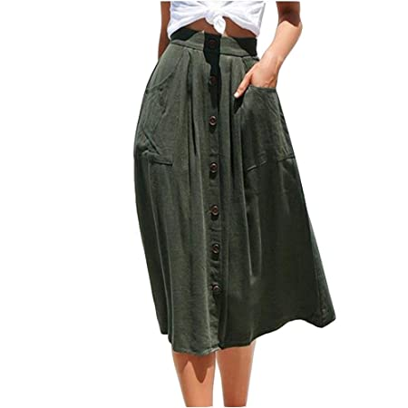 Yunbo-WS Falda de Mujer Falda de Verano para Mujer Botón de ...
