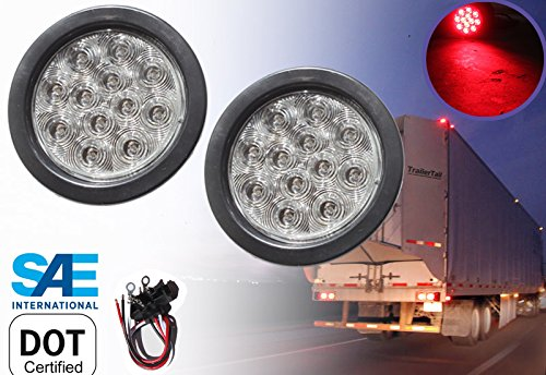 "2 Red 4"" Round LED Brake/Stop/Turn/Tail Light Kit with Grommet Plug Clear Lens KL-25108C-RK"