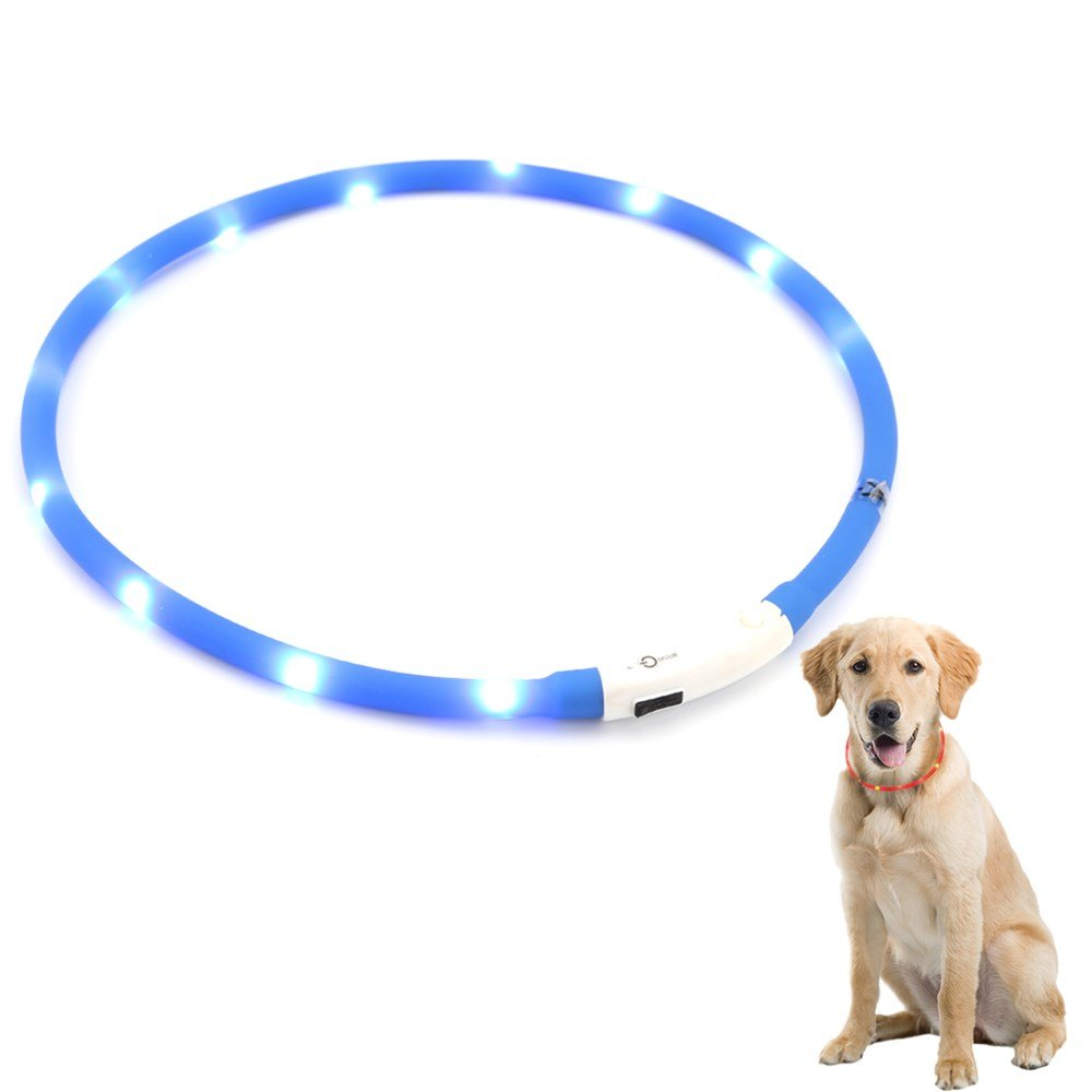 ZOGIN LED Pet Dog Collar, USB Rechargeable LED Dog Safety Flashing Light Collar-Blue