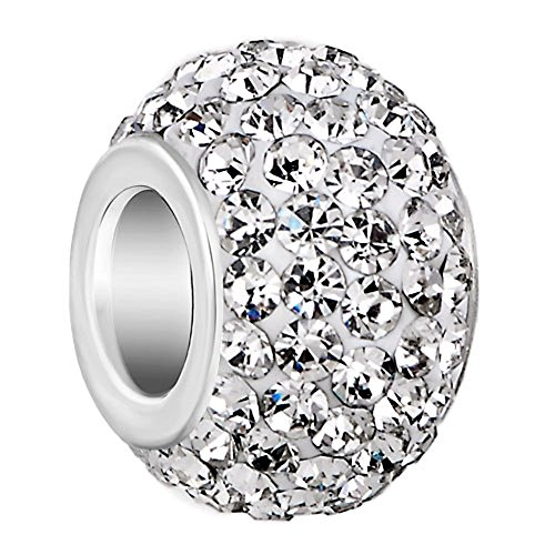 Apr Birthstone Charms White Swarovski Elements Crystal Bead Fit Pandora Chamilia Bracelet