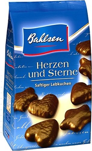 Bahlsen Gingerbread Hearts Stars Cookies Coated In Chocolate 250 G