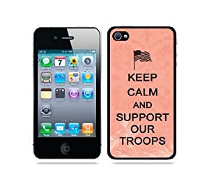 Keep Calm And Support Our Troops Coral Floral - Protective Designer BLACK Case - Fits Apple iPhone 4 / 4S / 4G