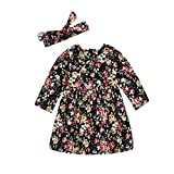 Glosun Little Kids Baby Girls Dress Floral Ruffle Tutu Skirt Casual Party Princess Dress Headband Outfit Set (12-18 Months, Floral)