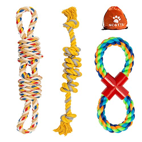 NEGTTE Dog Rope Toy-Dog Toys for Aggressive Chewers-Dog Chew Toys-Dog Toy Rope Set-Tough Dog Toys–Rope Toys for Dogs